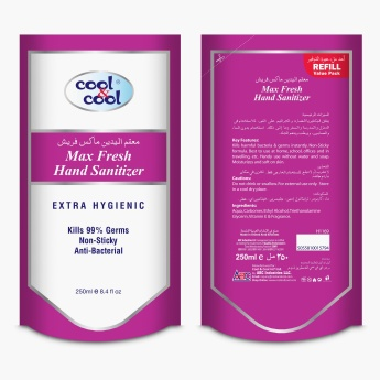 Cool & Cool Max Fresh Hand Sanitizer Gel Refill Pouch - 250 ml