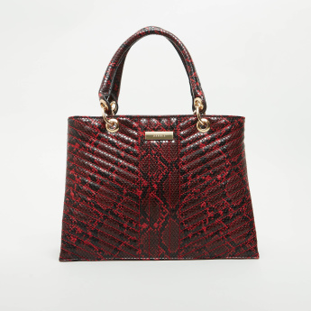 BESSIE London Reptilian Textured Tote Bag with Detachable Sling Strap