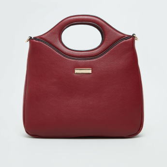 BESSIE London Solid Tote Bag with Detachable Strap