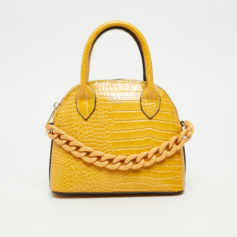 BESSIE London Croc Embossed Bag with Detachable Chain Strap