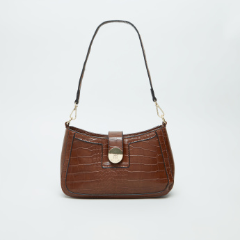 BESSIE London Croc Embossed Baguette Bag with Detachable Strap