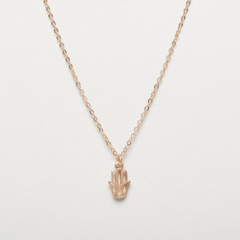 Single Chain Necklace with Hamsa Hand Pendant
