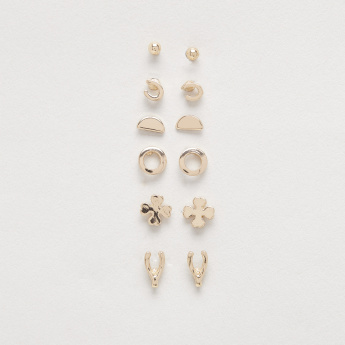Metallic Gold Finish Assorted Studs - Set of 6