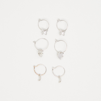 Metallic Hoop Earrings - Set of 3