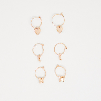 Metallic Gold Finish Hoop Earrings - Set of 3