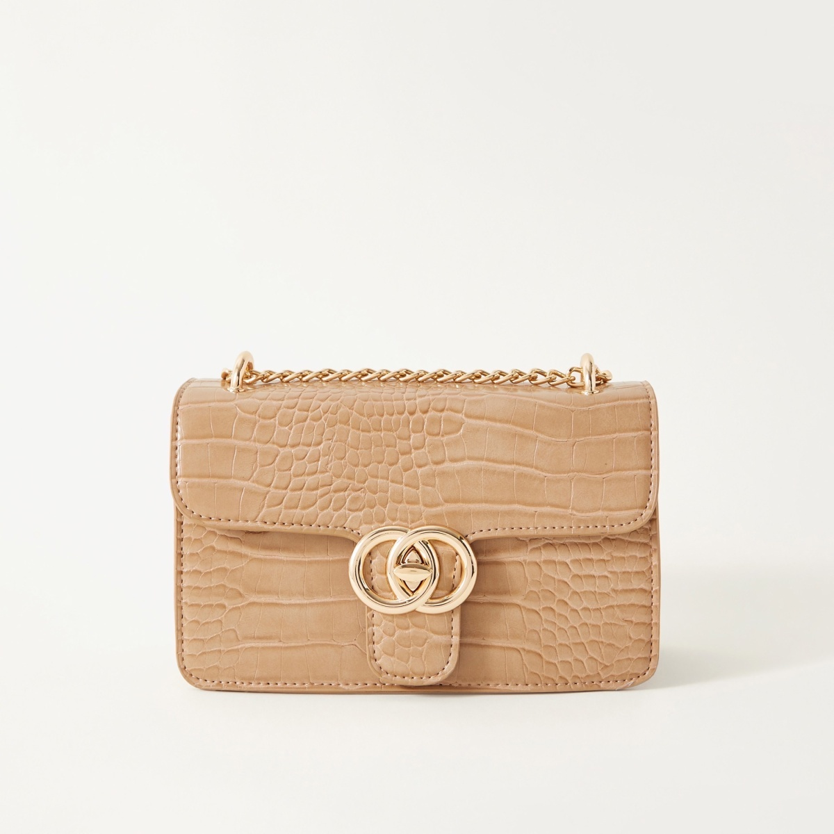 Sasha Bao Croc-Embossed Crossbody Bag with Chain Strap
